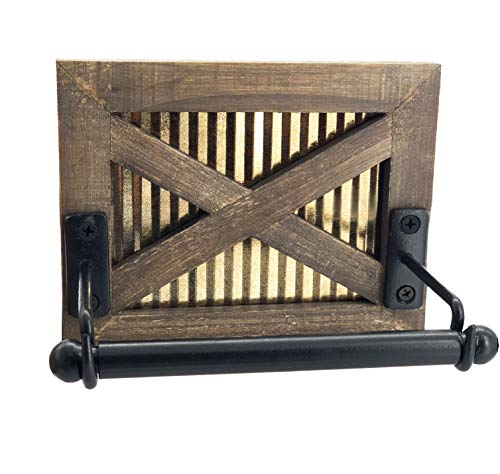 Autumn Alley Rustic Farmhouse Barn Door Toilet Paper Holder | Constructed of Warm Brown Wood, Corrugated Metal and Black Metal | Adds Functional Farmhouse Charm to Your ()