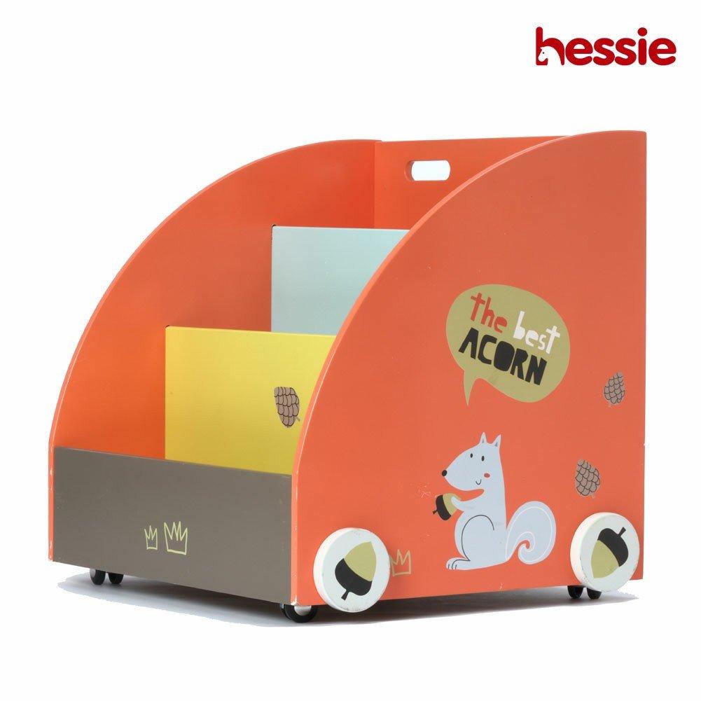 Hessie Little Toddler Kids Portable Libreria in legno / libreria su ruote, libreria / ripiano, libreria mobili - Arancione Pino (Semi Circolare Forma)