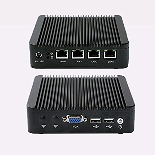 Kingdel Silent Mini PC, Windows 7 HTPC with intel J1900 Quad Core CPU, 4GB RAM, 128GB SSD, Quad LAN, VGA, Wi-Fi, Fanless