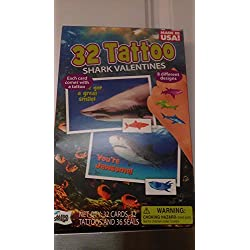 32 Tattoo Shark Valentines Day Trading Cards with 8 Different Designs, Great for Classroom Sharing