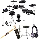 alesis dm10 drum module - Alesis DM10 MKII Pro Kit | Ten-Piece Electronic Drum Kit with Mesh Heads + Dynamic Stereo Headphones + Drum Stick Holder + Drum Throne + Maple Wood 5B Drumsticks (1 Pair) - Top Value Bundle