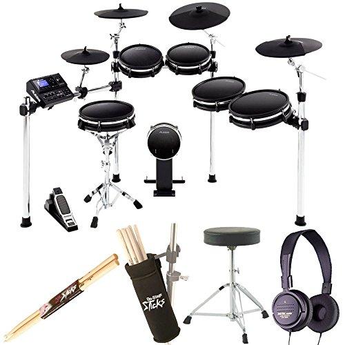 Alesis DM10 MKII Pro Kit | Ten-Piece Electronic Drum Kit with Mesh Heads + Dynamic Stereo Headphones + Drum Stick Holder + Drum Throne + Maple Wood 5B Drumsticks (1 Pair) - Top Value Bundle