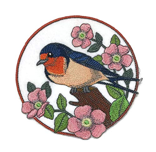 Nature weaved in threads, Amazing Birds Kingdom [Barn Swallow And Wild Rose Circle [Custom and Unique] Embroidered Iron on/Sew patch [5