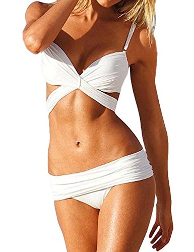 Ninimour Womens Bandage Cut Swimsuit Swimwear Bikini Set (Small, White-3)