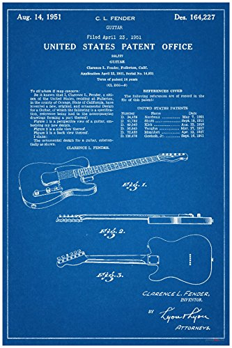 Fender Electric Guitar Patent - NEW Famous Invention Blueprint Poster