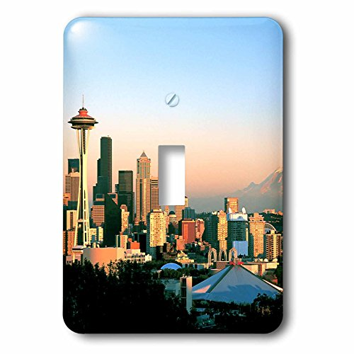 Northwest Switchplate - 3dRose LSP_96593_1 Seattle Framed by Space Needle and Mt. Rainier-US48 RDU0059-Richard Duval Single Toggle Switch, Multicolor