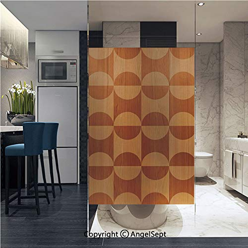 (AngelSept Window Film Door Sticker Glass Film Abstract Oak Plank Pattern with Tiled Bound Lines and Oval Curves Image Both Suitable for Home and Office, 22.8 x 35.4 inch,Orange Tan)