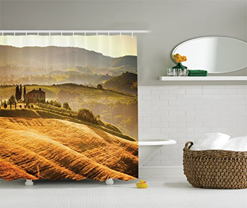 (Ambesonne Tuscan Decor Collection, Siena Tuscany Vineyard Retro Farmhouse Cypress Trees and Sunset Picture, Polyester Fabric Bathroom Shower Curtain Set with Hooks, Mustard Green)
