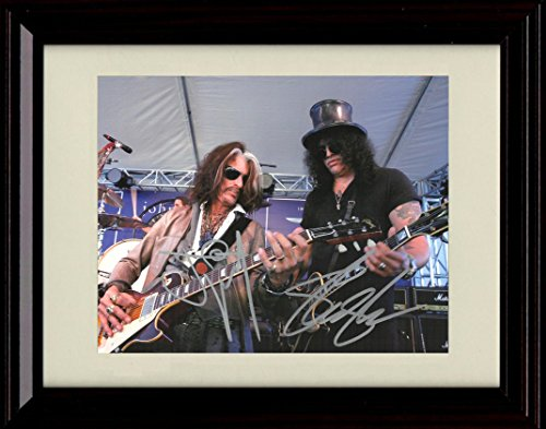 Framed Joe Perry and Slash Autograph Replica Print