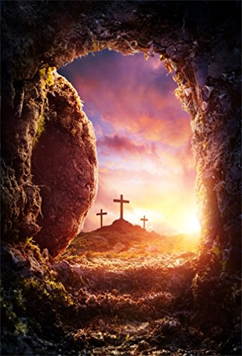 AOFOTO 5x7ft Crucifixion Resurrection of Jesus Christ Backdrop Salvation Cross Photography Background Tomb Cave Sunrise Glimmers of Hope Photo Studio Props Bible Pray Christian Church Play Wallpaper