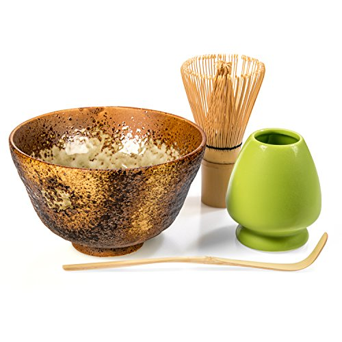 Tealyra - Matcha - Start Up Kit - 4 items - Matcha Green Tea Gift Set - Japanese Made Golden Bowl - Bamboo Whisk and Scoop - Whisk Holder - Gift Box by Tealyra