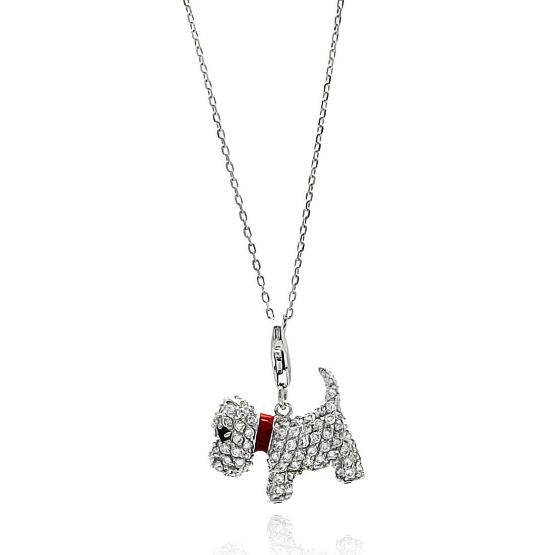 Jewelry Pilot Rhodium Plated Sterling Silver Pave Set CZ Puppy Dog w//Red Enamel Collar Pendant Necklace