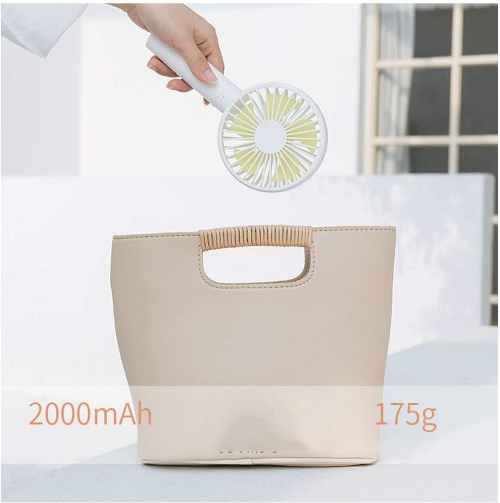 Quiet Operation Dygzh Mini Desktop Personal Fan Handheld Mini Fan Detachable Base Rechargeable 1000 mAh Battery Travel Camping 3 Speed 3 Colors Strong Wind in The Home Office