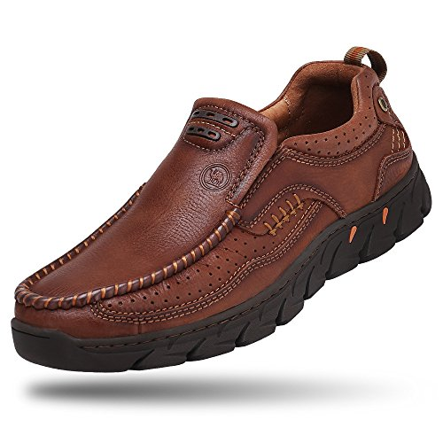 (Camel Men Loafer Slip-on Shoes Cushion Slip Resistant Genuine Leather Fashion Driving Boat Sneakers Casual Walking Performance Dress Shoes Brown 8.5D(M) US)