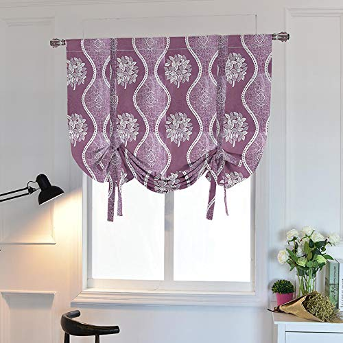 WUBODTI Valance for Kitchen Bedroom Bathroom Windows,Room Darkening Tie Up Shades Blackout Thermal Insulated Balloon Curtain Panel,32x55 Inch,Purple (Roman Purple Shades)
