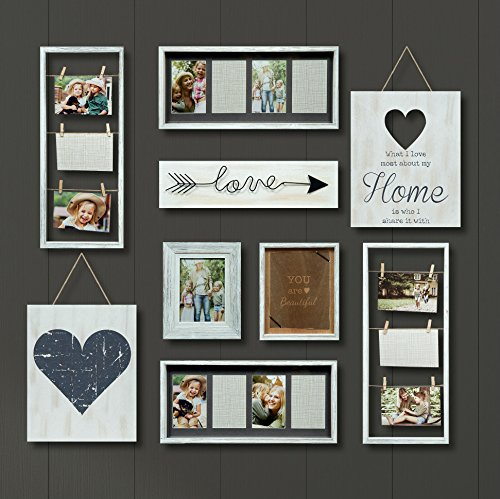 (Gallery Perfect Gallery 9 Piece Rustic Whitewash Collage Frame Wall Kit White)
