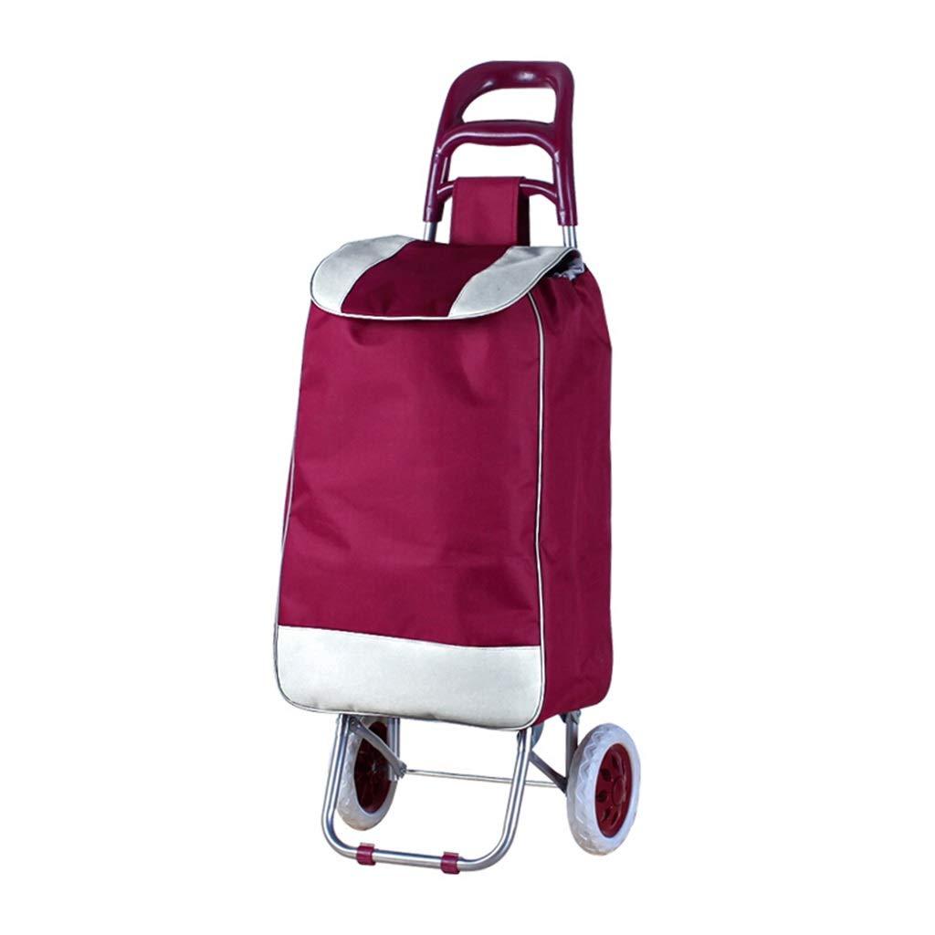スーパー軽量ショッピング食料品トロリーバッグケースショッピングカート完全に絶縁折りたたみショッピングトロリー大容量食料品バスケットキャリアポータブルホイール (色 : Red) B07T3LF8QB Red