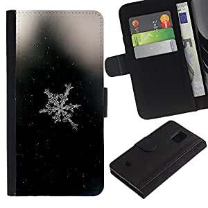 KingStore / Leather Etui en cuir / Samsung Galaxy S5 Mini, SM-G800 / Espacio Negro copo de nieve Negro