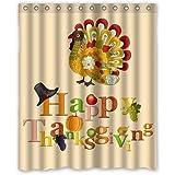 Colorful Art Turkey Happy Thanksgiving Day Waterproof Bathroom Fabric Shower Curtain Bathroom Decor 60