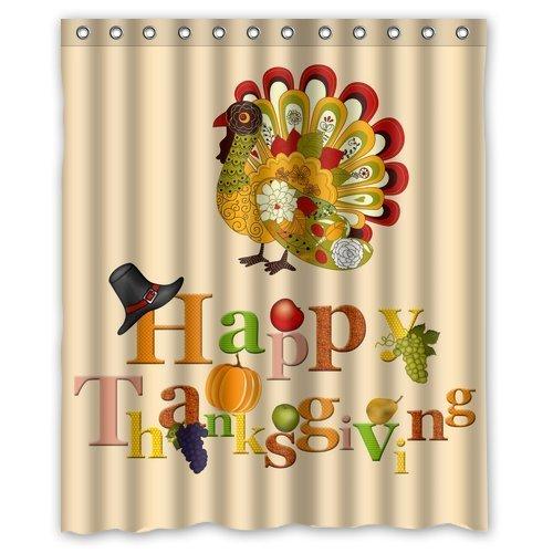 Colorful Art Turkey Happy Thanksgiving day Waterproof Bathroom Fabric Shower Curtain,Bathroom decor 60