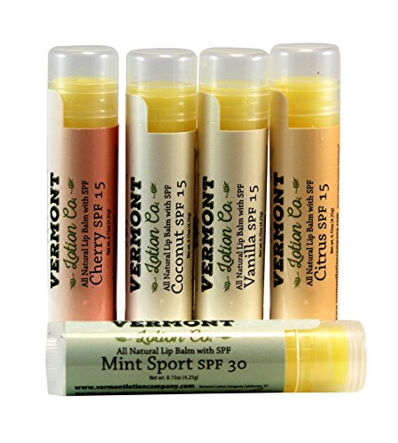 Citrus Spf 15 Lip Balm - Lip Balm with SPF 15 & 30, Variety 5 Pack
