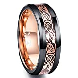 Nuncad Rose Gold Plated Celtic Dragon Tungsten Carbide Ring 8mm Mens Black Wedding Band Polished Comfort Fit Size 7 to 12