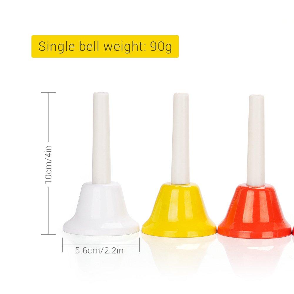 Lightwish Colorful 8 Note Diatonic Metal Hand Bells Set For Children