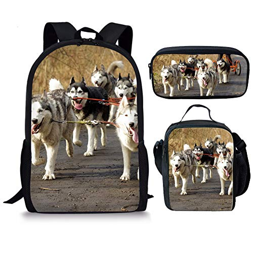 Husky Portable Bookbag for Girls Boys Student to Hold Book Insulted Lunch Bags Box for Women School Office Work with Huskie Dog Printed Pencil Bag for a pen 3 Piece Sets 17 Inch