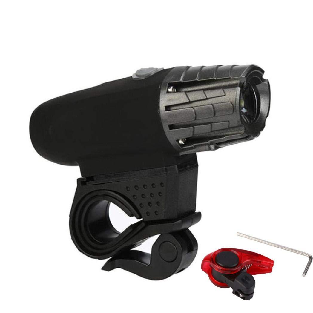 Enjocho 2018 USB Rechargeable LED Bicycle Bright Bike Front Headlight and Brake Light Set (Black)