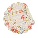 C&F Home, Whitney Collection, Quilted Reversible Round Placemat - Floral - Set of 4
