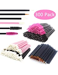 JIULORY Disposable Makeup Applicators Mascara Wands & Lipstick Applicators & Eyeliner Brushes 300PCS Makeup Applicators Tool Kits