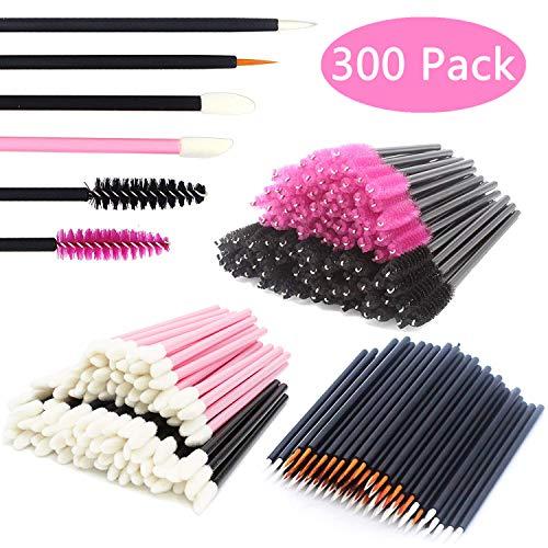 JIULORY Disposable Makeup Applicators Mascara Wands & Lipstick Applicators & Disposable Eyeliner Applicators 300PCS Makeup Applicators Tool Kits