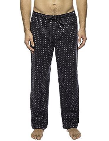 Men's 100% Cotton Flannel Lounge Pant - Floating Squares Dark Grey - Medium - Flannel Pajama Pants Sleepwear