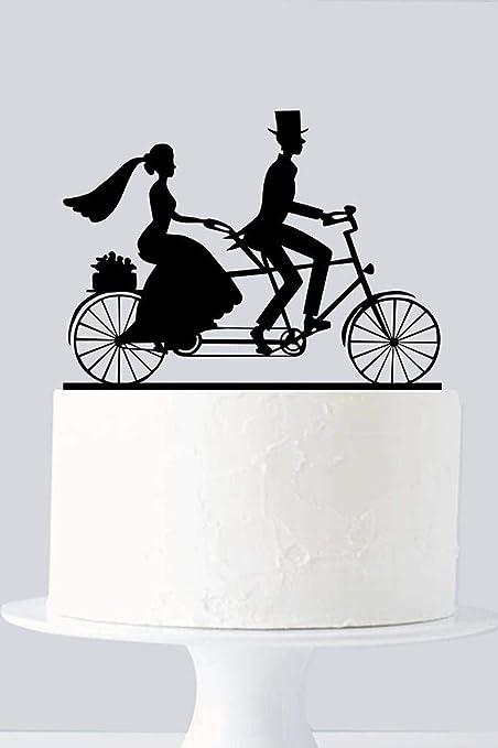 Decoración para tarta de bicicleta, decoración para tarta de bicicleta, decoración para tarta de boda, silueta de pareja, decoración para tarta de acrílico A955: Amazon.es: Hogar
