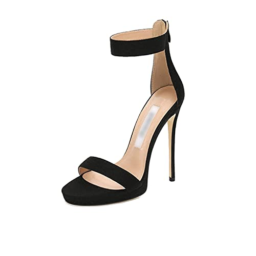 e416f2c87 Show-M3 Open Toe Stiletto Sexy High Heels Fetish Black Sandals,Black 12Cm,