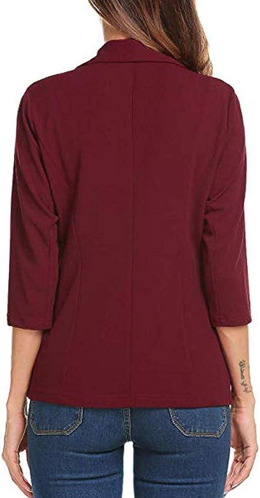 TWGONE Womens Casual Suit Jacket 3//4 Sleeve Open Front Work Mini Blazer Office Cardigan