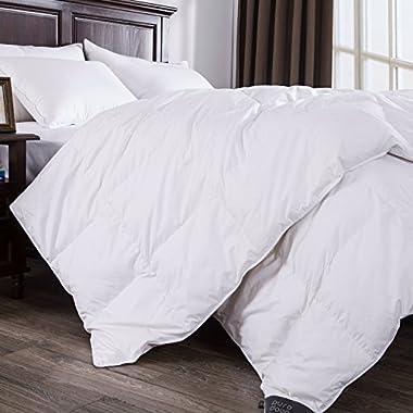 Puredown Baffle Box Design 100% Cotton 700 Fill European Down Comforter Duvet Insert, Full/Queen, White