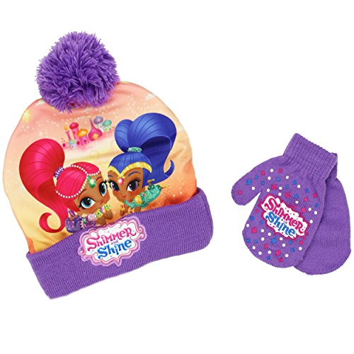 Shimmer and Shine Toddler Beanie Hat and Mittens Set (One Size, Genie Purple)