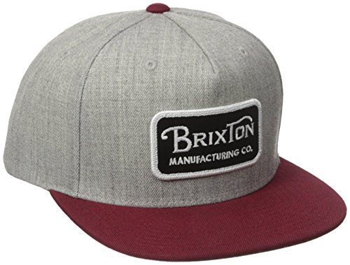 Brixton Men's Grade Snapback, Light Heather Grey/Burgundy, One
