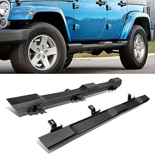 A&K ABS Running Board for 07-17 Jeep Wrangler JK 4 Doors Side Step Pad OE Factory Style Nerf Bar Accessories | for 2007 2008 2009 2000 2010 2011 2012 2013 2014 2015 2016 2017 Jeep JK Sahara Rubicon