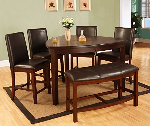 D876 6pc Dark Cherry Dining Set w/Bench - Triangle Dining Table: Amazon.com