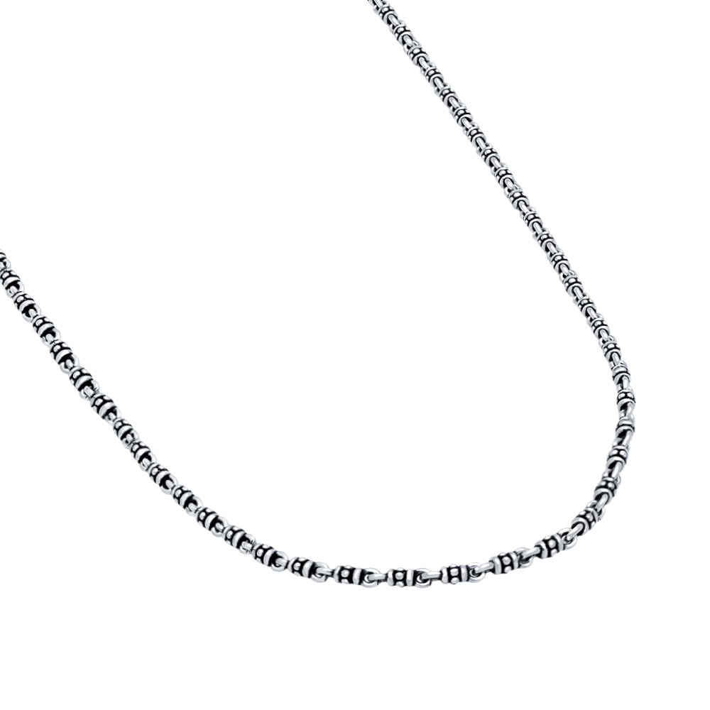 Twisted Blade 925 Sterling Silver Silver Thin Studded Link Necklace 18''