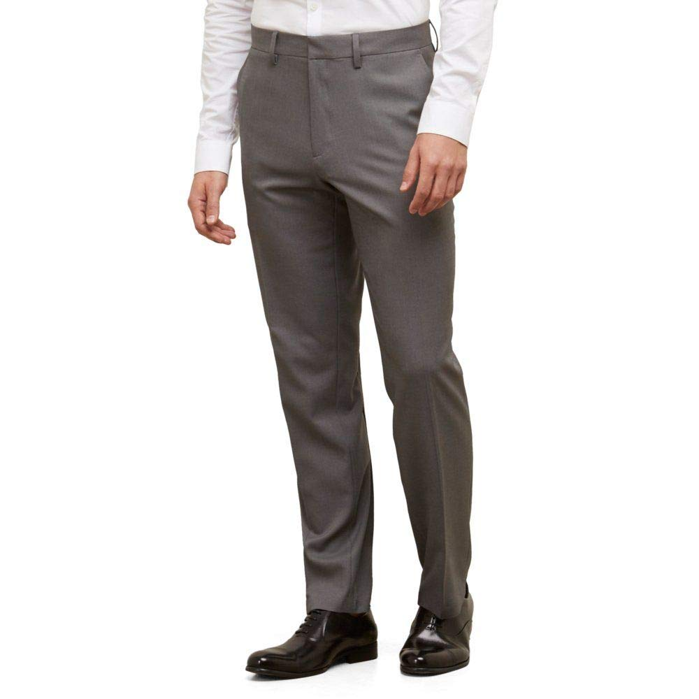 Kenneth Cole REACTION Men's Heather Stretch Modern Fit Flat Front Pant, Dark Grey, 36x30