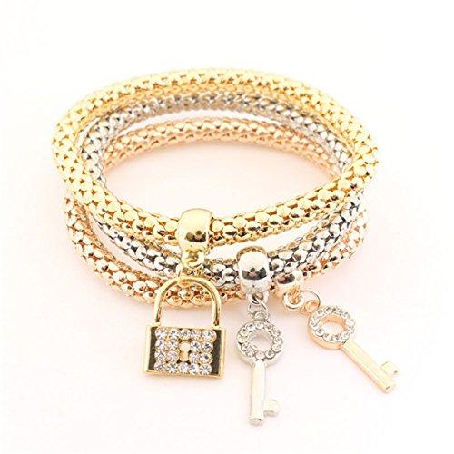 Sweet Bracelet Diamonds (Ja and South Korea simple three-color woven bracelet Korean version of the multi-layer Sen Deparent keylock diamond bracelet pendant sweet girlfriends)