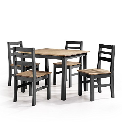 Manhattan 4 Piece - Manhattan Comfort Maiden Collection Reclaimed Traditional Modern 5 Piece Pine Wood Dining Set, 4 Chairs and 1 Table Wood/Black