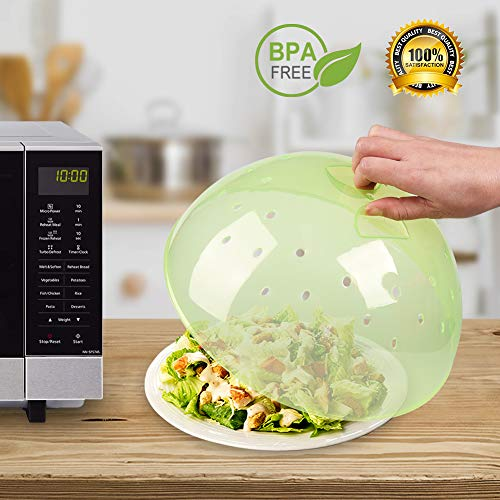 Microwave Plate Cover, Anti-Splatter Plate Lid with Steam Vents & Handle Microwave Food Cover, Food-Grade PP Material BPA-Free 2 Pack by Homich (Image #2)