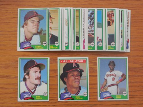 California Angels 1981 Topps Baseball Team Set with year end High Numbers (41 Cards) ** (Don Baylor) (Rod Carew) (Rick Burleson) (Bobby Grich) (Dickie Thon) (Joe Rudi) (Rick Miller) (Brian Downing) (Fred Patek) (Frank Tanana) (Carney Lansford) (Fred Lynn) (Los (Dickie Thon Baseball)