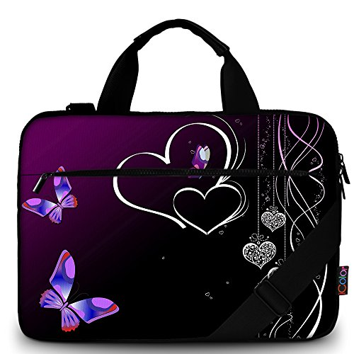 iColor Purple Butterflies Canvas Laptop Carrying Shoulder Sleeve Carrying Case Protective Bag Briefcase for 11.6 12 12.9 13 13.3 inches Laptop Ultrabook Netbook CSH-05