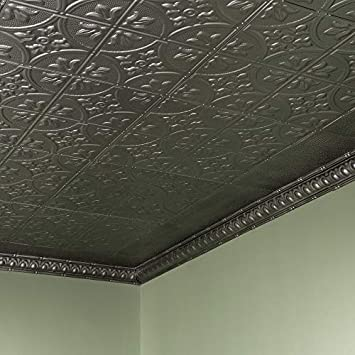 Great Lakes Tin Jamestown Argento Nail-Up Ceiling Tiles – Package of Five 2ft x 2ft Panels – Choose from 11 Styles – Perfect for DIY and Home Renovation Projects – Easy to Install