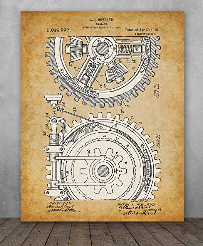Poster - Gears Patent - Choose Unframed Poster or Canvas - Makes a Great Industrial Home Decor
